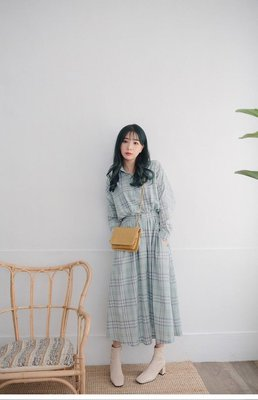 轉賣 Miluku-showrooms 彩格口袋長洋(綠)(全新)