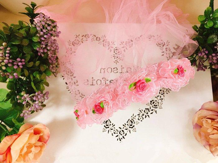 【華蕊】* I 款粉紅小花髮箍頭紗 * 髮圈 小花童 公主頭紗 甜美 可愛 蕾絲 花環
