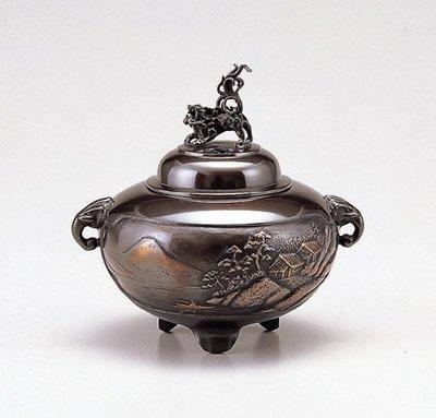 【新月集】日本 高岡銅器 特選作家作品  山水香爐(小)  能作吉秀  作