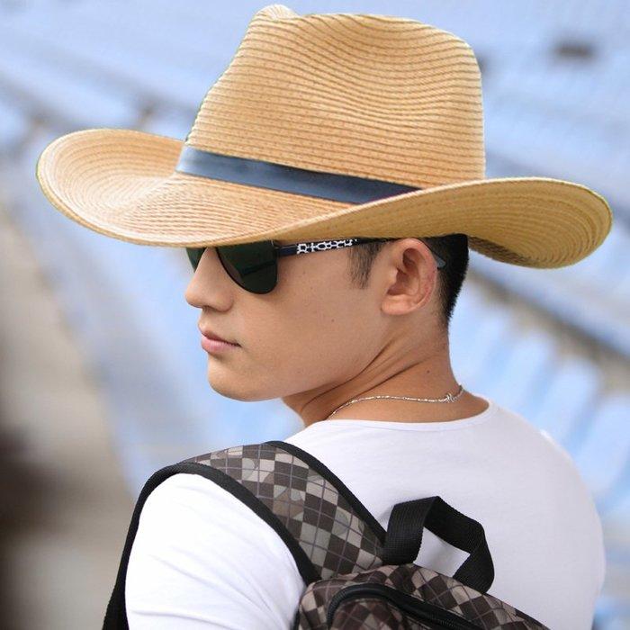2018新款男生士透氣休閑度假釣魚帽遮陽防曬硬沿戶外太陽夏天天草帽子