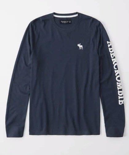 AF Abercrombie & Fitch A&F 麋鹿 袖子貼布 長T 藍色