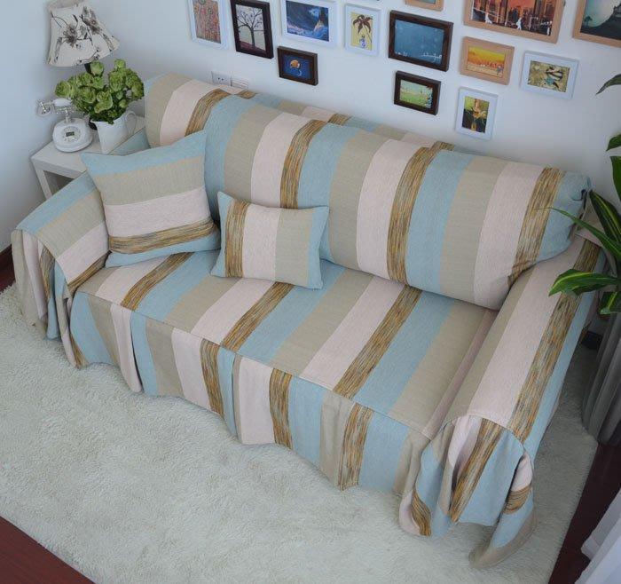 INPHIC-波西米亞藍色寬條紋布藝沙發巾 沙發套 沙發罩  可訂製