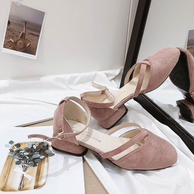 爆款--網紅涼鞋女夏季新款包頭粗跟奶奶...