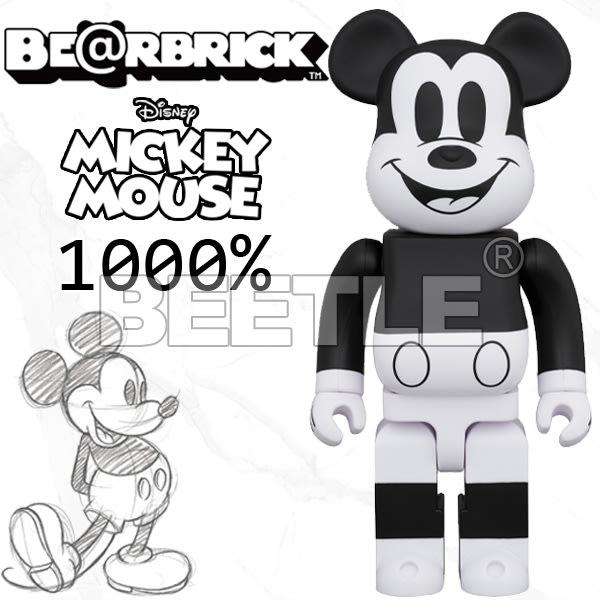 BEETLE BE@RBRICK DISNEY MICKEY 迪士尼 黑白 米老鼠 米奇 B&W Ver. 1000%