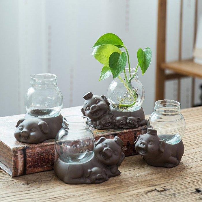 爆款創意玻璃透明水培花瓶擺件家居客廳綠蘿容器插花陶瓷動物豬裝飾品#簡約#陶瓷#小清新