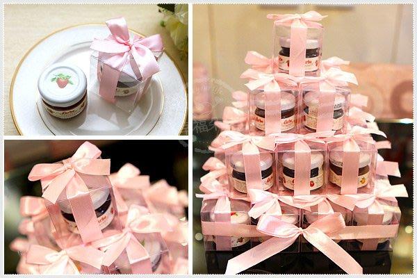 幸福朵朵【甜蜜蜜「透明盒裝」奧地利D'arbo果醬小禮盒 x 30盒 (粉紅色緞帶)】-送客小禮物/婚禮小物