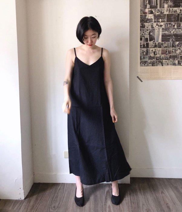 SEYES  優雅復古法式棉麻細肩帶洋裝