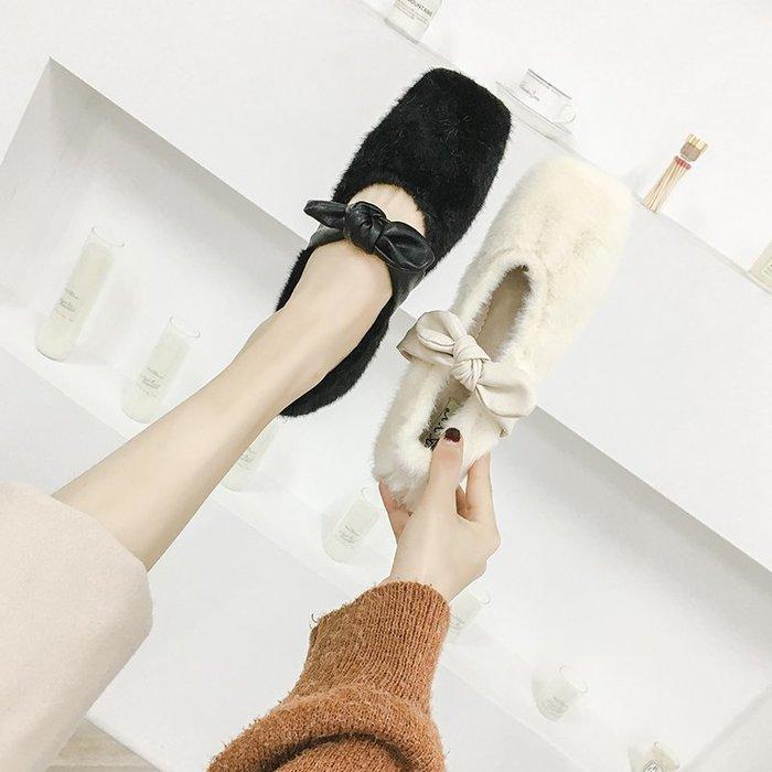 *菇涼家*毛毛鞋2019早秋新款平底懒人時尚百搭外穿单鞋女蝴蝶结芭蕾舞鞋女