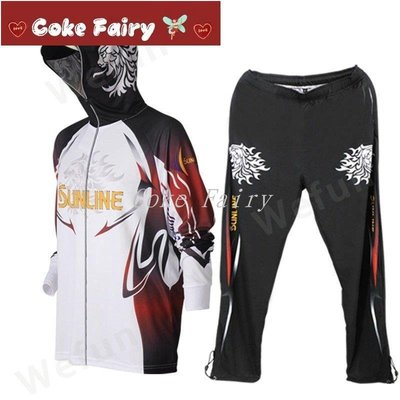 SUNLINE釣魚服 連帽衫 透氣速乾防曬 兩節褲 比賽釣魚球衣 釣魚褲子 釣魚服套裝 長袖T恤#Coke Fairy#