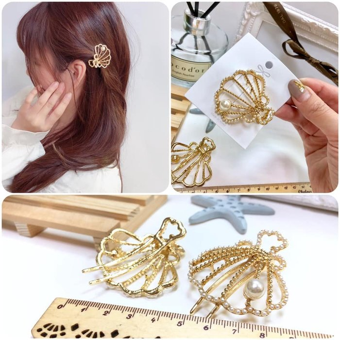 【Love Trina】9011-0421。貝殼珍珠結金屬壓夾(5CM)。髮夾。髮飾(1色)