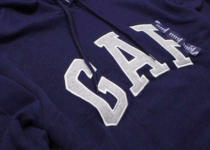 GAP 男連帽長袖T恤 帽T,海軍藍配灰白貼布繡字,內裡刷棉,保暖,袋鼠口袋,尺寸XL