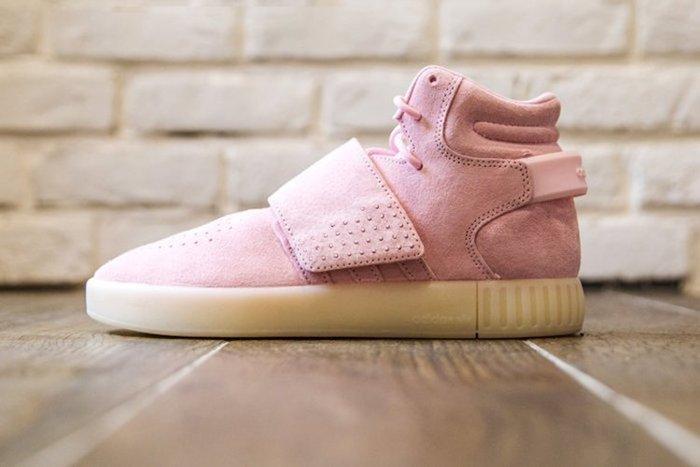 【美國鞋校】現貨 Adidas Tubular Invader 小椰子櫻花粉麂皮魔鬼氈高統女鞋 B39364