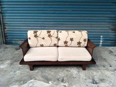 【安鑫】~胡桃色兩人座雙人座布沙發椅組 2手沙發 中古沙發【A289】