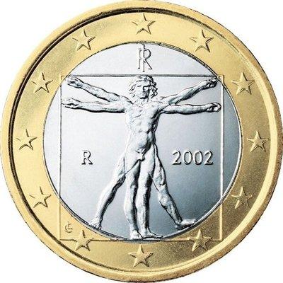 【幣】EURO 義大利2002年發行 歐元首年幣 vitruvius 1歐元