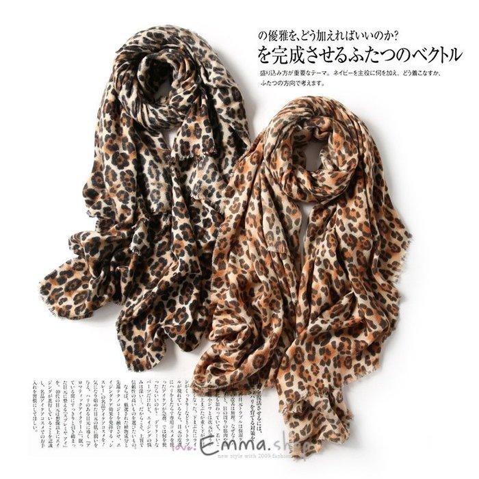 EmmaShop艾 ~正韓國空運 豹紋仿羊絨長款大圍巾 披肩