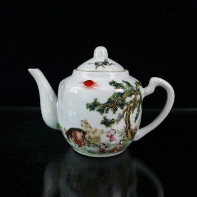 仙記銀坊民國時期粉彩三陽開泰茶壺古董瓷器復古擺件茶具仿古收藏古玩老貨