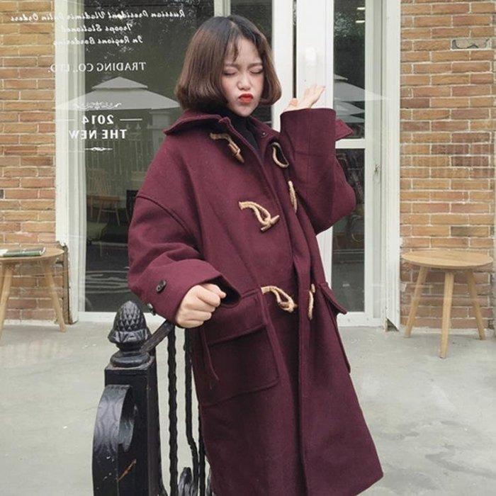 外套 女 新款秋冬韓版學院風復古寬鬆牛角扣呢子外套中長款呢子大衣女