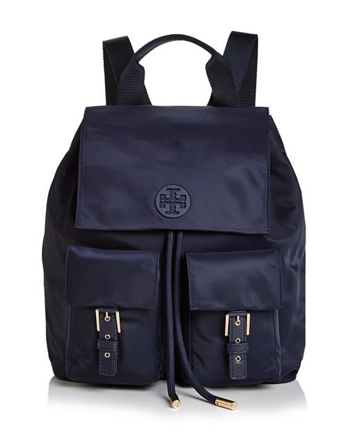 Coco小舖 Tory Burch Tilda Medium Nylon Backpack  深藍色尼龍後背包