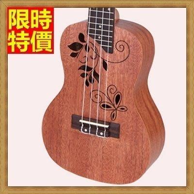 烏克麗麗 ukulele-蝴蝶印花23吋桃花心木合板夏威夷吉他四弦琴樂器69x14[獨家進口][米蘭精品]