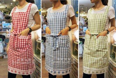 圍裙工作服--鄉村風三色格子純棉綁帶圍裙/工作服-303款--秘密花園