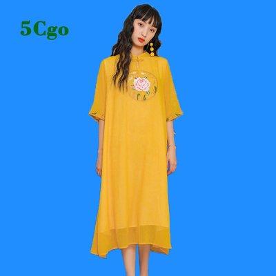 5Cgo【鴿樓】黃色旗袍女改良復古中國風寬松大碼胖中長款新式年輕少女連衣裙 597638439648