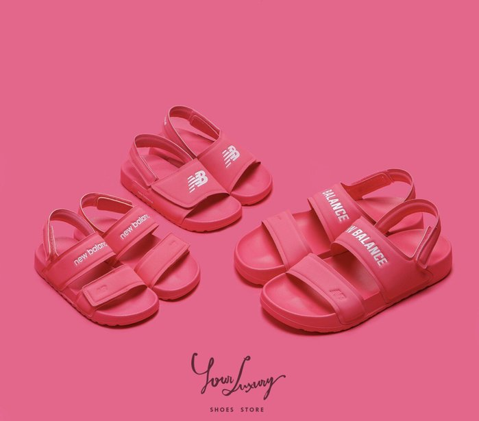 【Luxury】現貨一雙 兒童 NEW BALANCE 素色 運動涼鞋 女童 正品 粉 18CM