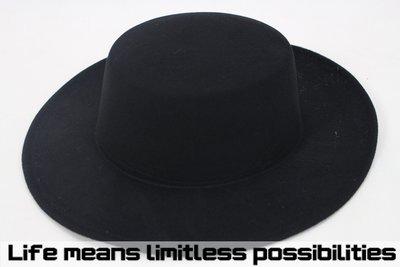 黑色平頂可調超寬沿紳士帽 硬頂 Wide brim hat 歐美 百搭 古著 復古 毛呢 10CM 【LtLf】