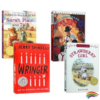 英文原版紐伯瑞小說4冊 Sarah, Plain and Tall 又丑又高的莎拉/ Strawberry Girl 60th Anniversary Edit