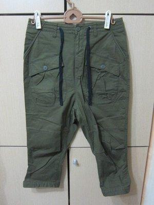 衣市藍~RAGE BLUE 七分褲 (M~軍綠~七成新~) (200609)