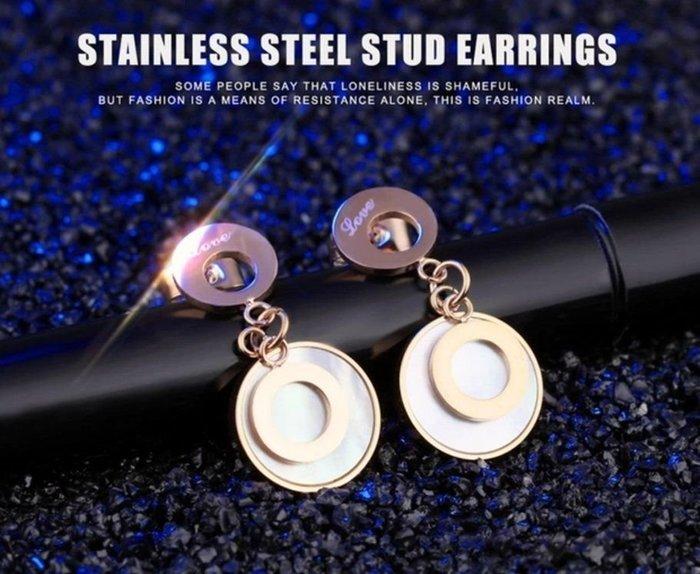 買耳環送3好禮》韓國飾品 甜美氣質 玫瑰金雙環圓圈耳環一對》白鋼 鈦鋼鏈 鈦鋼項鍊 白鋼鏈