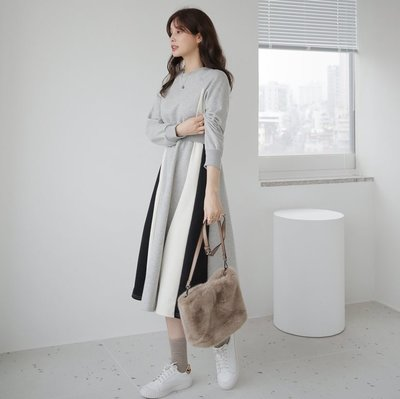 bibi 韓國連線 正韓  無肩線拚色拼接鬆緊腰連身裙【 W1153 】