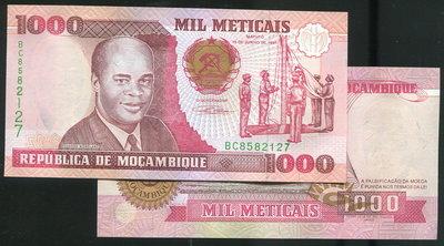 【紙幣】MOZAMBIQUE(莫三比克), P135 ,1000-METI ,1991 , 品相全新UNC