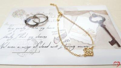 ♥ STORY SAYS ♥【Lucky clover】手創925純銀鍍金 四葉草 幸運草手鍊(附禮物包裝及拭銀布)