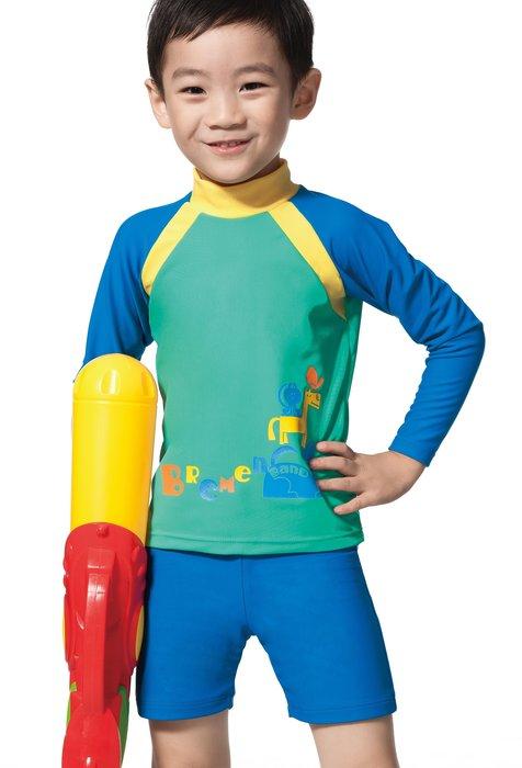 ~有氧小舖~APPLE蘋果牌 幼童兩件式長袖泳裝 水母衣 長袖泳衣+四角泳褲  防曬