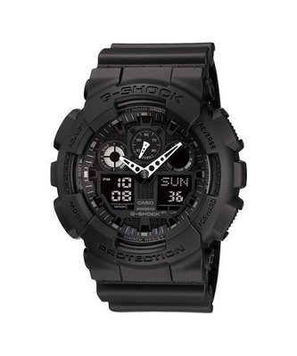 CASIO卡西歐G-SHOCK 個性重型機械感Man運動錶防水200 GA-100-1A1 黑/ 55mm台灣公司貨 基隆市