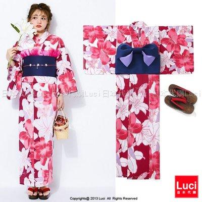 浴衣 氣質百合花 花朵浴衣和服三件組 吉木千沙都 日雜款  LUCI日本代購 [giu808kx]