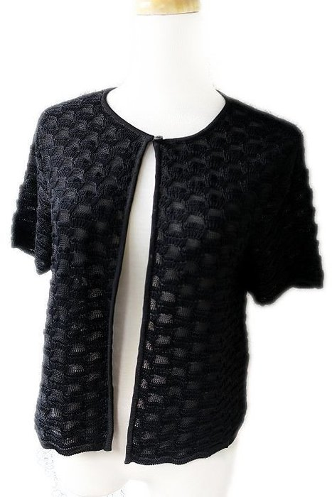 *Beauty*ARMANI黑色方塊針織衫短袖外套 42號 原價28800元 全新附吊牌