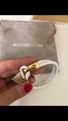 MICHAEL KORS MK 白色全皮手環(附珠寶袋)