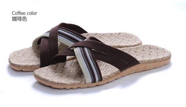 ,就愛夾腳拖 ! 天然亞麻竹炭室內室外拖鞋,吸汗透氣 ~ 男款斜條咖 40~41 42~4