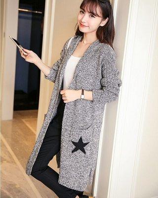 連帽毛衣針織開衫外套(淺灰色) J-12091