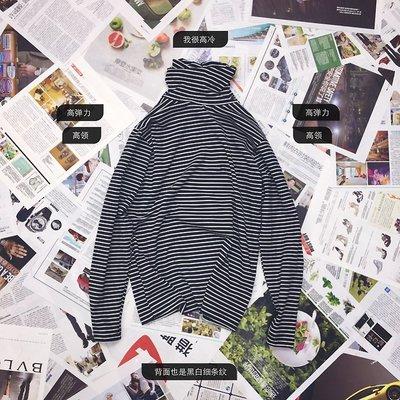 韓國街頭新款長袖T卹bf高領打底衫情侶條紋長TEE男女經典長袖上衣