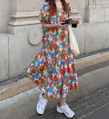 SeyeS 復古古著超美夏日泡泡袖彩色大花長版洋裝