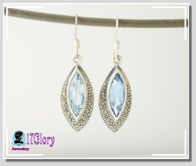 925純銀天然馬克賽石 水藍寶鋯石 古典優雅耳環 海水淡藍穿搭  古典銀飾珠寶 水藍色 #現貨✽ 17 Glory ✽