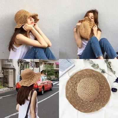 韓版可折疊沙灘大沿草帽女 夏天百搭小清新海邊夏度假防曬遮陽帽子
