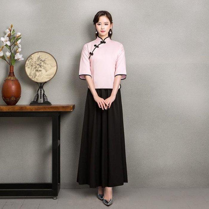 中式伴娘服女團宴會禮服半袖2019新款春季民國風復古中國風旗袍女YSY