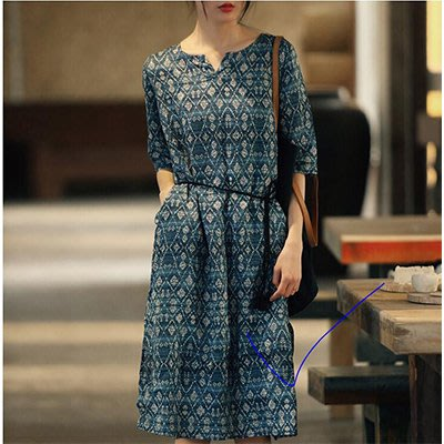 【anna shop】純苧麻連身裙 寬鬆印花連身裙 中長款A字裙Y614029074148