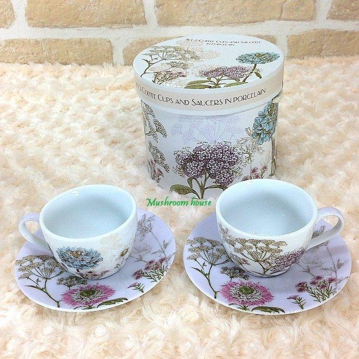 點點蘑菇屋 義大利Easy Life植物園濃縮咖啡杯盤組-粉紫(二杯二盤) Espresso 禮盒裝 現貨