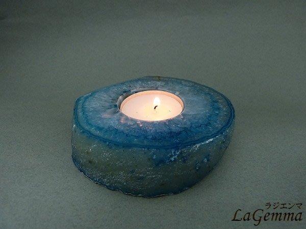☆寶峻水晶☆HOT新品~瑪瑙燭台 歐美流行 居家擺飾 天然瑪瑙染色(藍綠色) CA-100