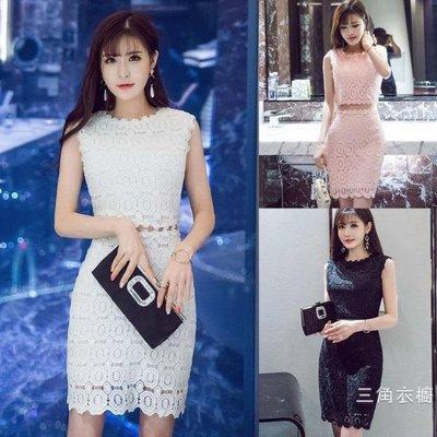 洋裝2019夏季裝新品韓版時尚無袖短裙蕾絲花邊露腰修身假兩件洋裝女潮