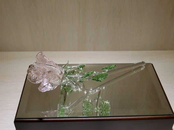 【藝晶香琉璃藝術工坊】橫向夜光玫瑰花、琉璃、藝術品、擺飾、擺件